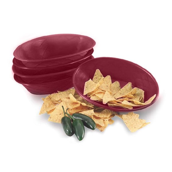 "HS Inc. HS1048 9"" x 5 1/2"" x 2"" Raspberry Polyethylene Oval Weave Basket - 24/Case"