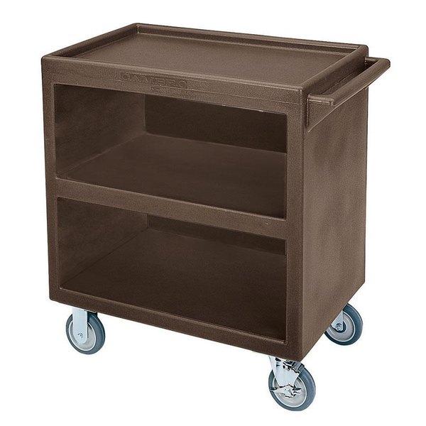 "Cambro BC3304S131 Dark Brown Three Shelf Service Cart with Three Enclosed Sides - 33 1/8"" x 20"" x 34 5/8"""