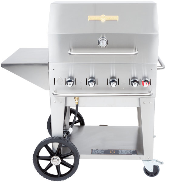 Crown Verity MCB 30 PKG Liquid Propane Portable Outdoor BBQ Grill /  Charbroiler With Roll Dome, Outdoor Cover, ...