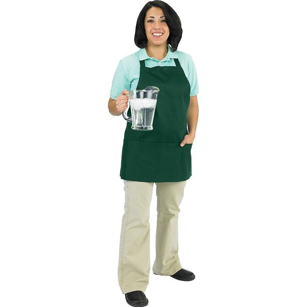 """Chef Revival 602BAFH-HG Customizable Professional Front of the House Hunter Green Bib Apron - 28""""L x 25""""W"""