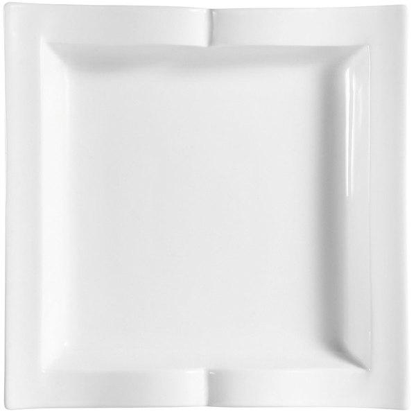 """CAC GBK-21 Goldbook Bone White Book-Shaped Square China Plate 11 1/2"""" - 12/Case"""