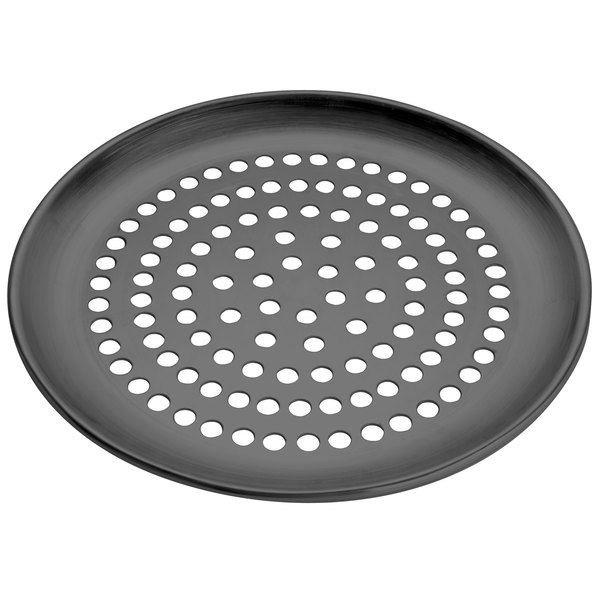 """American Metalcraft SPHCCTP14 14"""" Super Perforated Hard Coat Anodized Aluminum Coupe Pizza Pan"""
