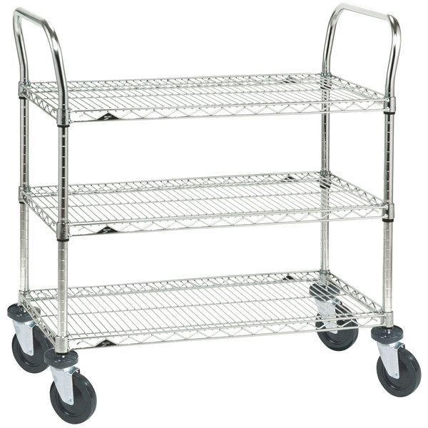 "Metro 3SPN55ABR Super Erecta Brite Three Shelf Heavy Duty Utility Cart with Rubber Casters - 24"" x 48"" x 39"" Main Image 1"