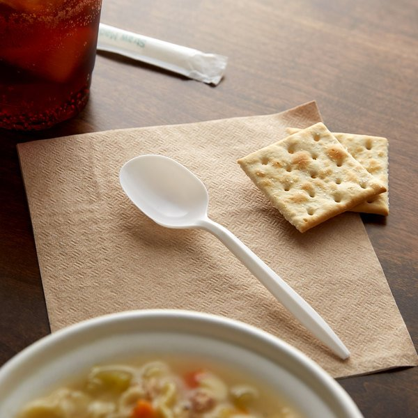 Choice Medium Weight White Plastic Soup Spoon - 1000/Case Main Image 2