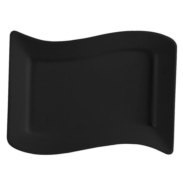 "CAC SOH-14BK Color Soho 13 1/2"" x 8 7/8"" Rectangular China Platter - Black - 12/Case"