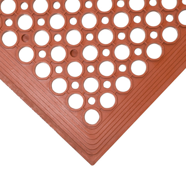 """3' x 5' Red Grease-Resistant Anti-Fatigue Floor Mat with Beveled Edge - 3/8"""" Thick"""