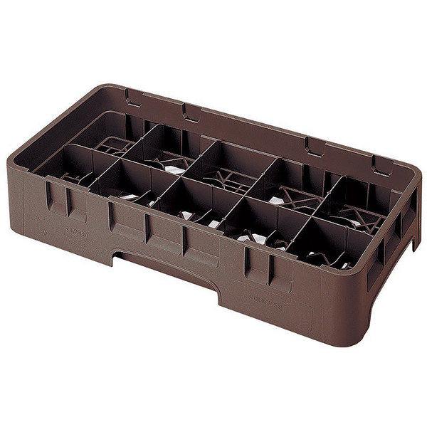 """Cambro 10HS434167 Brown Camrack Customizable 10 Compartment 5 1/4"""" Half Size Glass Rack"""