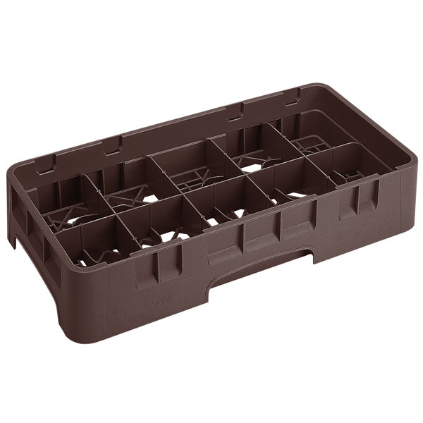 """Cambro 10HS434167 Brown Camrack 10 Compartment 5 1/4"""" Half Size Glass Rack"""