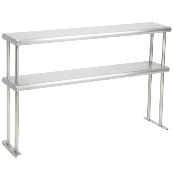 """Eagle Group DOS-HT3 Stainless Steel Double Overshelf - 10"""" x 48"""" Main Image 1"""