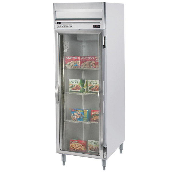 "Beverage-Air HFPS1-1G-LED Horizon Series 26"" Glass Door All Stainless Steel Reach-In Freezer with LED Lighting"
