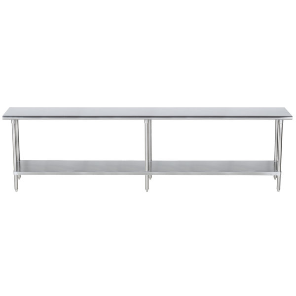 "Advance Tabco SLAG-248-X 24"" x 96"" 16 Gauge Stainless Steel Work Table with Stainless Steel Undershelf"