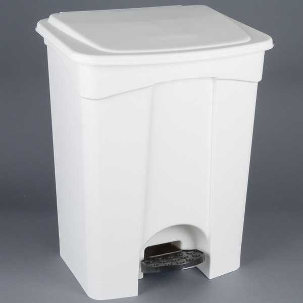 Continental 18WH 18 Gallon White Step On Rectangular Trash Can Main Image 1