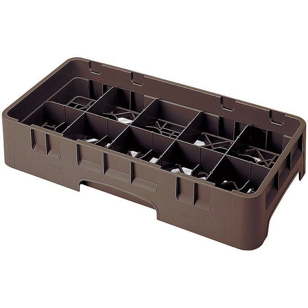 """Cambro 10HS800167 Brown Camrack 10 Compartment 8 1/2"""" Half Size Glass Rack Main Image 1"""