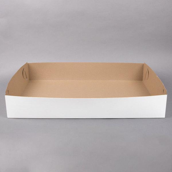 28 inch x 18 inch x 5 inch White Full Sheet Cake / Bakery Box - 25/Bundle