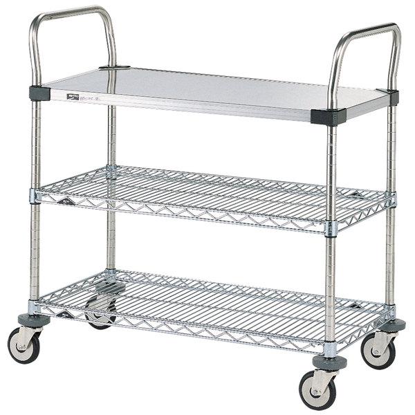 "Metro MW403 Super Erecta 18"" x 36"" x 38"" Three Shelf Standard Duty Utility Cart"