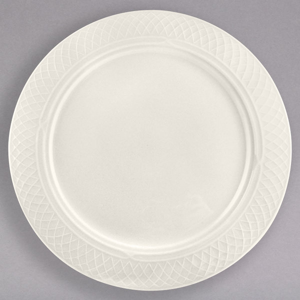 """Homer Laughlin 3347000 Gothic 6 1/4"""" Ivory (American White) China Plate - 36/Case"""