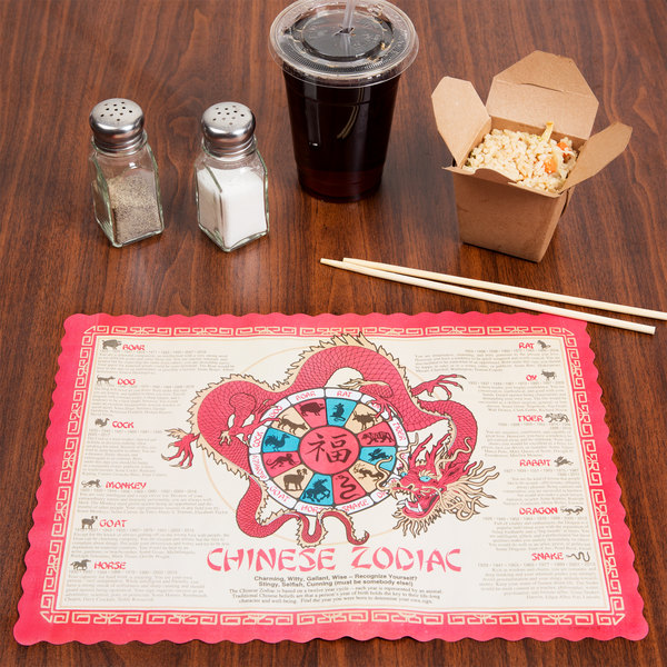 "Hoffmaster 310645 10"" x 14"" Chinese Zodiac Paper Placemat - 1000/Case"
