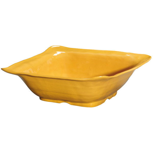 """GET ML-131-TY New Yorker 4.25 qt. Tropical Yellow Square Catering Bowl - 13"""""""