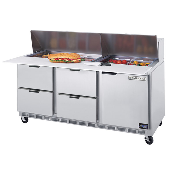 """Beverage Air SPED72-12C-4 72"""" 1 Door 4 Drawer Cutting Top Refrigerated Sandwich Prep Table with 17"""" Wide Cutting Board"""