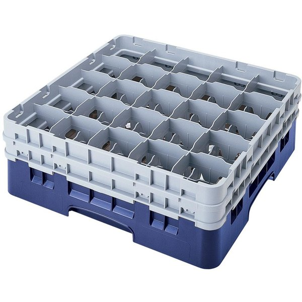 "Cambro 25S318168 Camrack 3 5/8"" High Customizable Blue 25 Compartment Glass Rack Main Image 1"