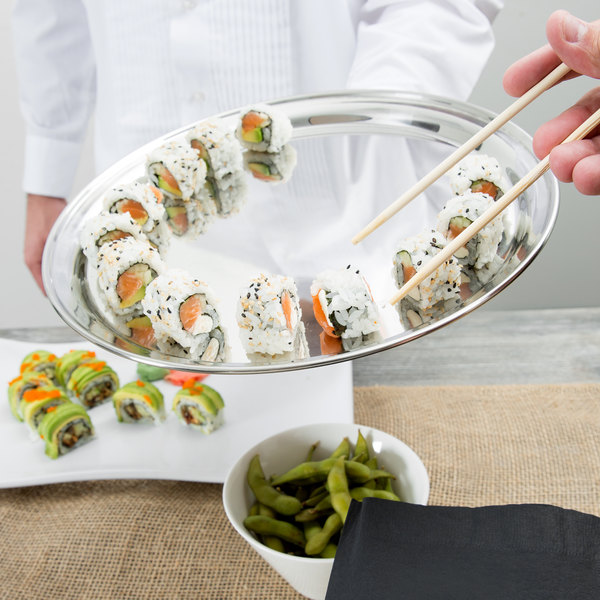 "12"" Round Stainless Steel Catering Tray / Platter Main Image 4"