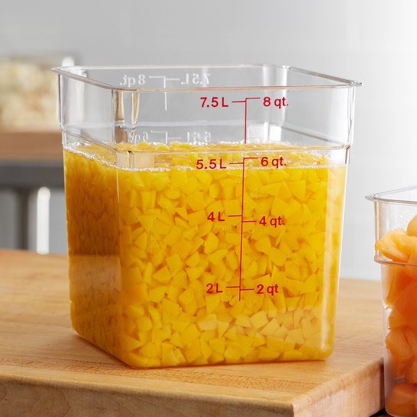 Cambro 8SFSCW135 8 Qt. Clear Square Polycarbonate Food Storage Container with Winter Rose Gradations Main Image 2