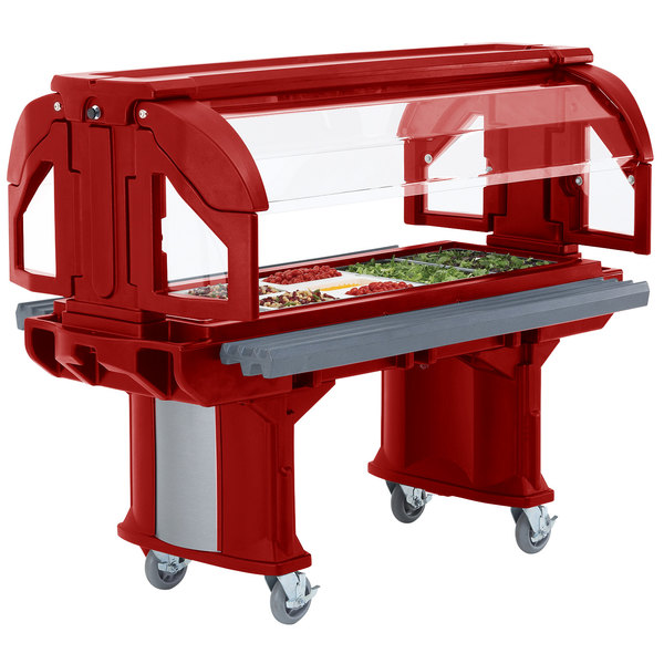 Cambro VBRLHD5158 Hot Red 5' Versa Food / Salad Bar with Heavy-Duty Casters - Low Height