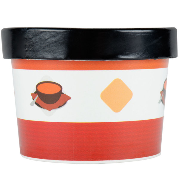 Choice 12 oz. Double Poly-Coated Paper Soup / Hot Food Cup with Vented Paper Lid - 250/Case