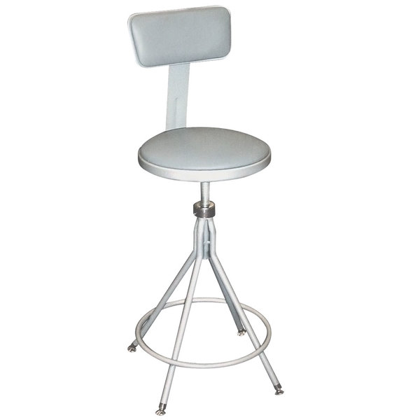 "National Public Seating 6524HB 24"" - 28"" Gray Adjustable Round Padded Swivel Lab Stool with Adjustable Padded Backrest"