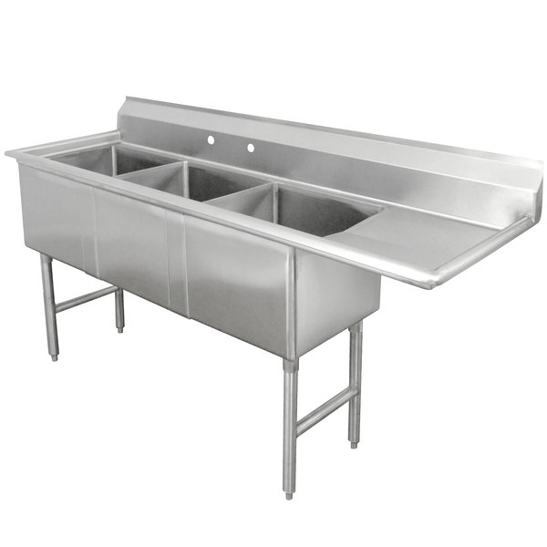 Right Drainboard Advance Tabco FC-3-1818-18 Three Compartment Stainless Steel Commercial Sink with One Drainboard - 75""