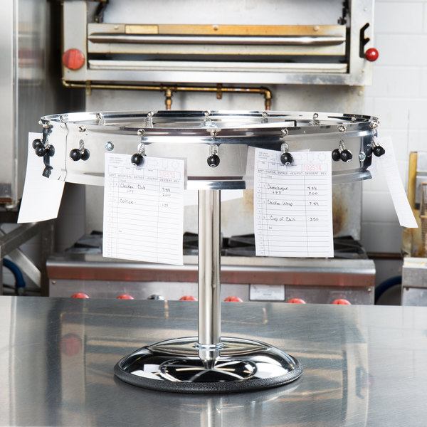 """Carlisle 3816MP 18"""" Stainless Steel 16 Clip with Pedestal Base Portable Order Wheel Ticket Holder Main Image 8"""