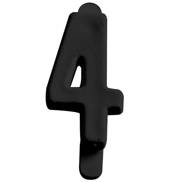 "3/4"" Black Molded Plastic Number 4 Deli Tag Insert - 50/Set"