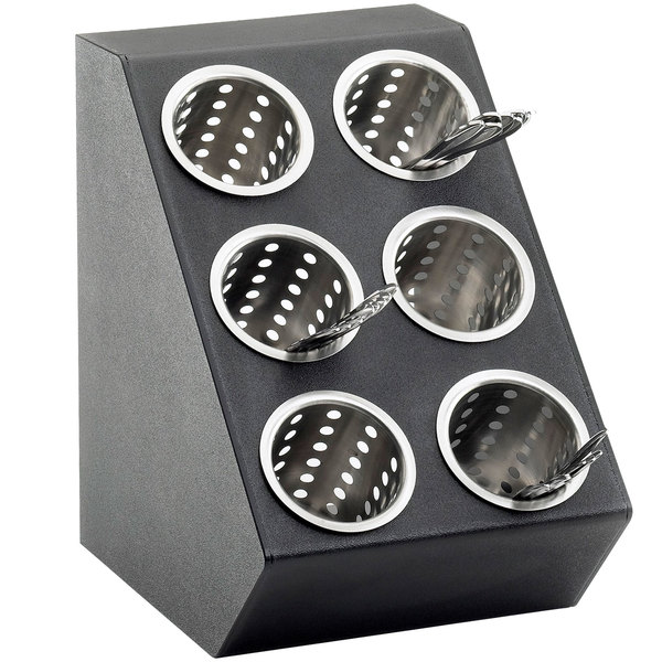 "Cal-Mil 2049 Classic Black Six Hole Vertical Silverware Display - 11 1/2"" x 15 3/4"" x 15 3/4"""