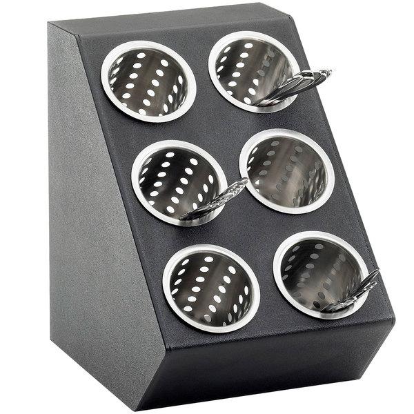 Cal-Mil 2049 Classic Black 6-Cylinder Vertical Flatware / Condiment Display Main Image 1