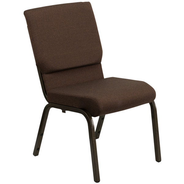 "Flash Furniture XU-CH-60096-BN-GG Brown 18 1/2"" Wide Church Chair with Gold Vein Frame Main Image 1"