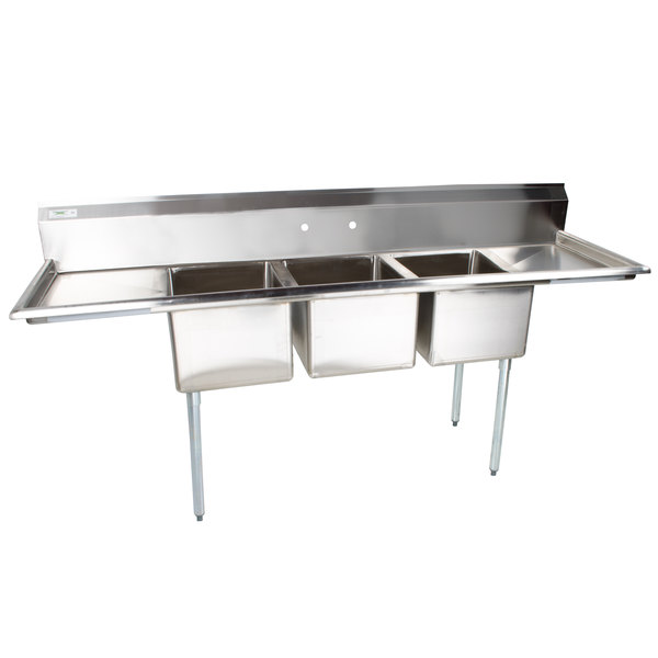 """Regency 103"""" 16-Gauge Stainless Steel Three Compartment Commercial Sink with 2 Drainboards - 17"""" x 17"""" x 12"""" Bowls"""