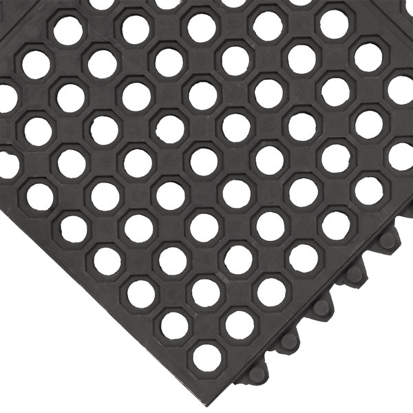 "Cactus Mat 2523-C VIP Prima 3' x 3' Black Connectable Anti-Fatigue Floor Mat - 1/2"" Thick"