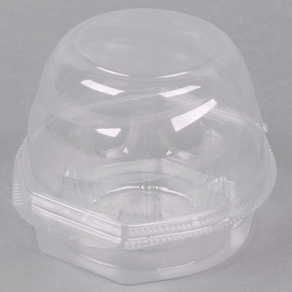 Swirl Dome 1 Compartment Hinged Clear Cupcake Container - 10/Pack