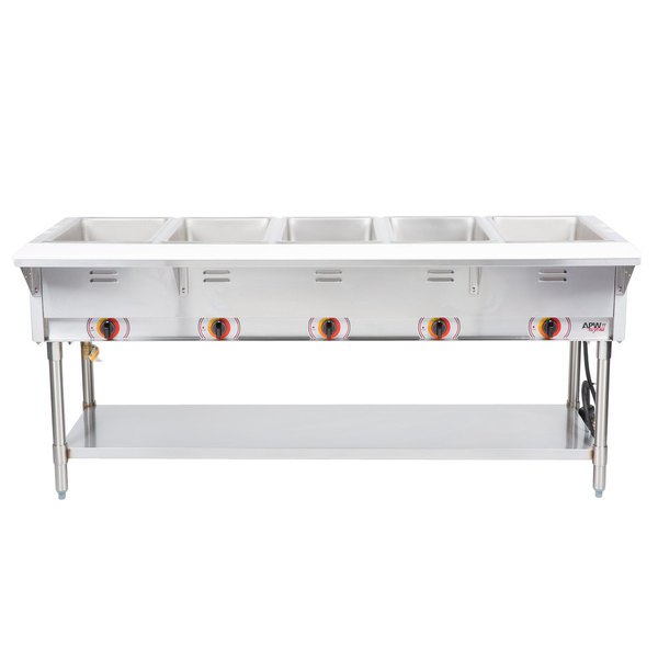APW Wyott STS Five Pan Exposed Stationary Steam Table With - Apw wyott steam table