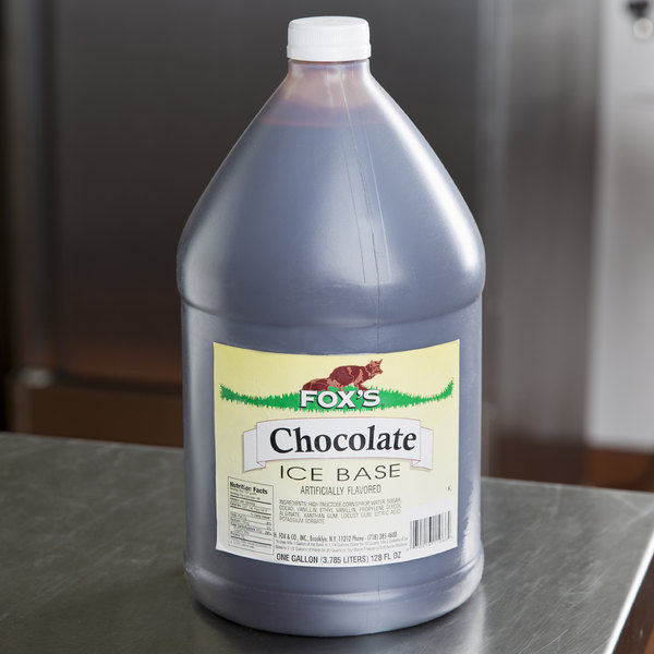 Fox's 1 Gallon Chocolate Italian Ice Syrup Base - 4/Case