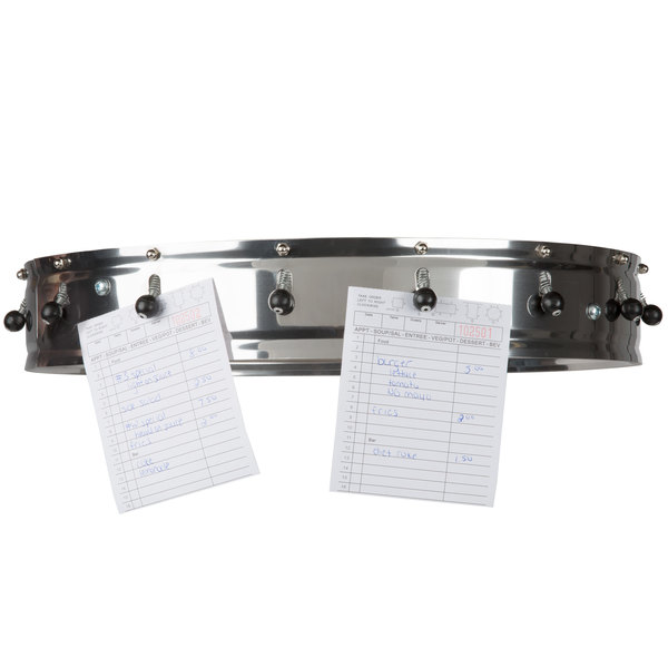 """Carlisle 3816CH 18"""" Stainless Steel 16 Clip Ceiling Mounted Order Wheel Ticket Holder Main Image 6"""