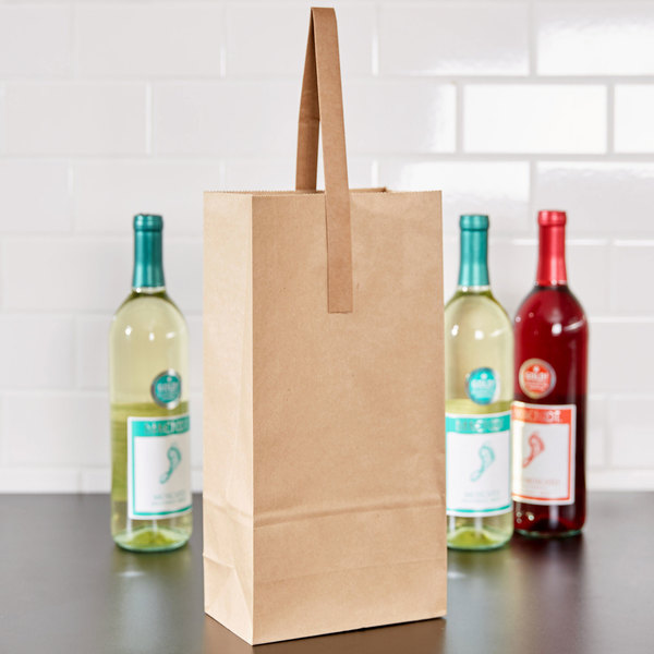 2 Bottle Paper Wine Bag with Handle - 250/Case