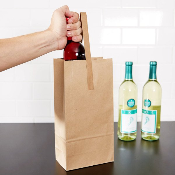 42c16f9a21 2 Bottle Paper Wine Bag with Handle - 250 Case