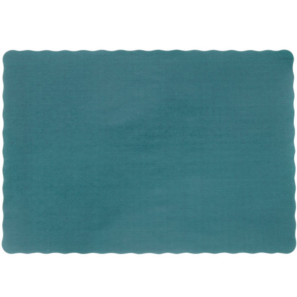 10 inch x 14 inch Hunter Green Colored Paper Placemat with Scalloped Edge - 1000/Case