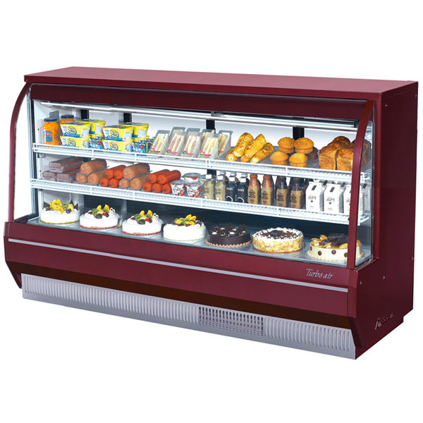 """Turbo Air TCDD-96-4-H 96"""" Red Curved Glass Refrigerated Deli Case"""