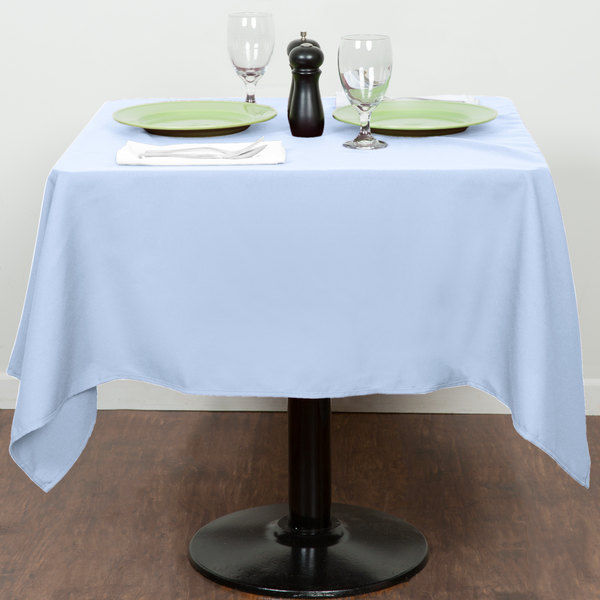 """54"""" x 54"""" Light Blue 100% Polyester Hemmed Cloth Table Cover"""