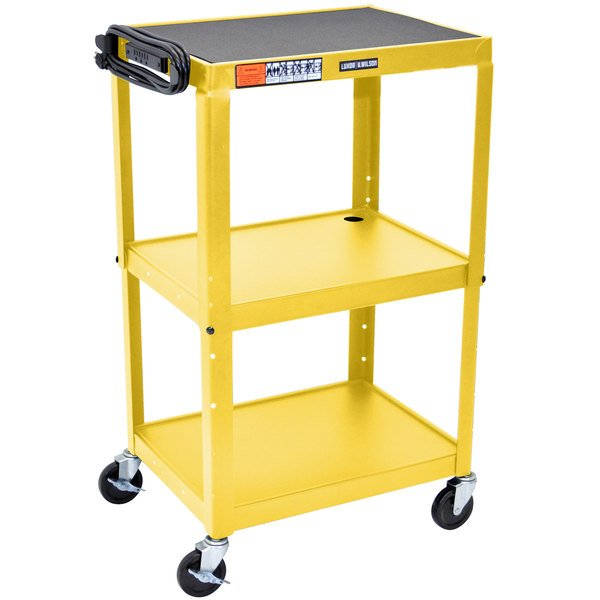"Luxor AVJ42-YW Yellow 3 Shelf A/V Utility Cart 24"" x 18"" - Adjustable Height"