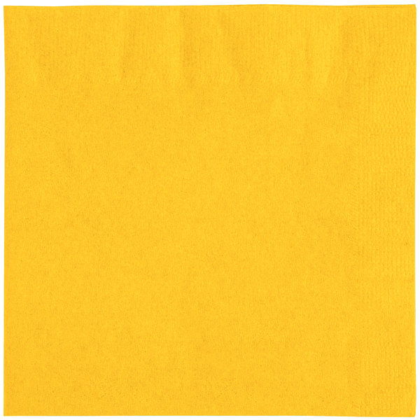 Choice 10 inch x 10 inch Sunny Yellow 2-Ply Customizable Beverage / Cocktail Napkin - 1000/Case
