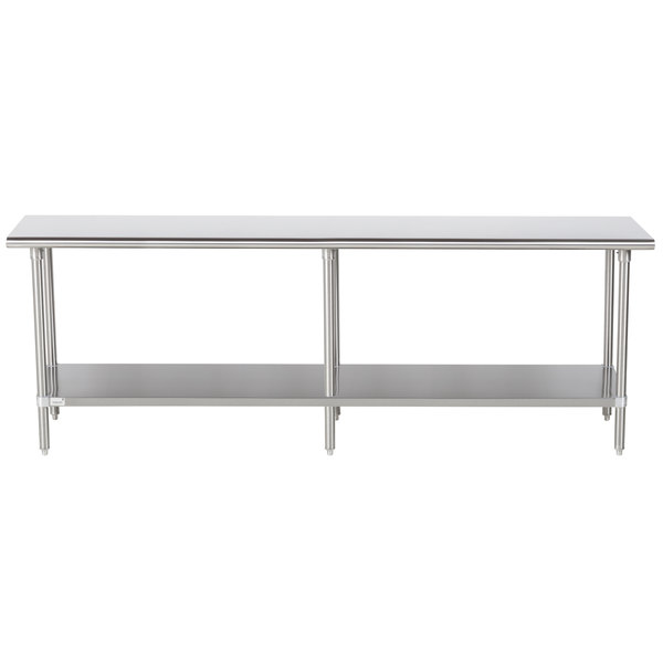 "Advance Tabco Premium Series SS-248 24"" x 96"" 14 Gauge Stainless Steel Commercial Work Table with Undershelf"
