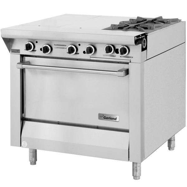 "Garland M42-6S Master Series Natural Gas 2 Burner 34"" Range with Even Heat Hot Top and Storage Base - 100,000 BTU Main Image 1"